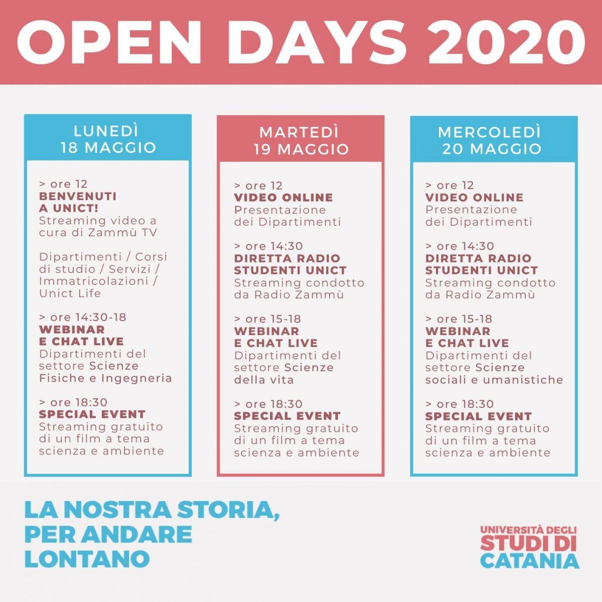 programma preliminare open days 2020