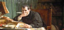 """particolare del quadro """"Niccolò Machiavelli nello studio"""", Stefano Ussi, 1894"""