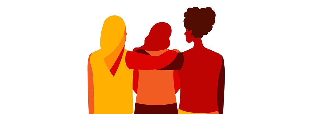 graphic of three women