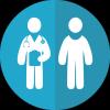 Sagoma di medico e paziente