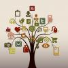 immagine stilizzata di un albero. Sui rami icone e simboli dei social network