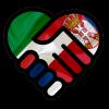 disegno di mani che si stringono colorate con le bandiere di Italia e Serbia
